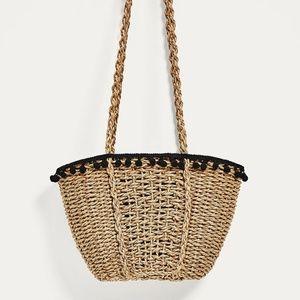Zara Pom Pom Basket Raffia Bag